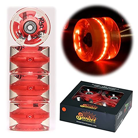 2017 Sunset Skateboards Red 65mm Longboard LED Light-Up Wheels Set with ABEC-7 Carbon Steel Bearings (4-Pack)
