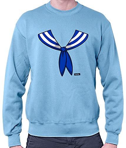 HARIZ Herren Pullover Matrose Kragen Kostüm Karneval Verkleidung Plus Geschenkkarten Himmel Blau ()