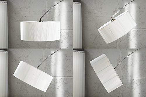 Lampada ad arco extenso bianca lampada a stelo con base bianca