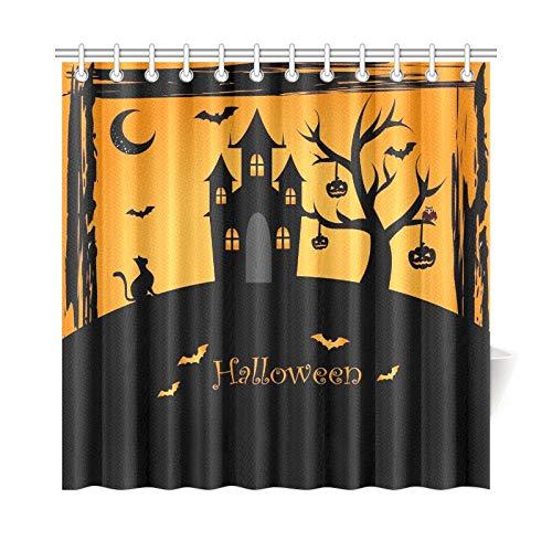 ad Vorhang Halloween Icons Über Orange Polyester Wasserdicht Duschvorhang Für Badezimmer, 72X72 Zoll Duschvorhang Haken Enthalten ()