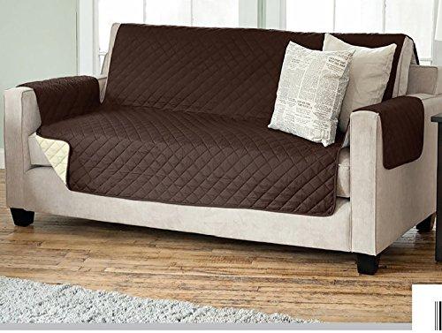 Sesselschoner Sofaschoner Sesselschutz Sofaüberwurf (3-Sitzer 191 x 279 cm, braun/beige)