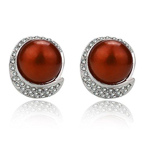 EVBEA Orecchini Clip Vintage Rosso Perla Finta Orecchini Moda Cristallo Diamante Fiore Orecchini per Donne con Scatola Regalo