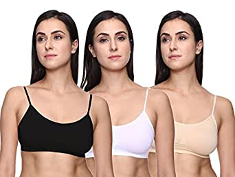 TRASA Sports Bra, Air Bra, Stretchable Thin Lace Non-Padded and Non-Wired Bra for Women and Girls, Free Size (Size 28 to 36) - Black, White and Beige