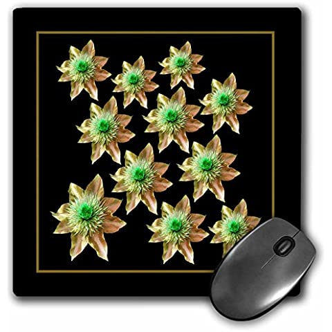 Jaclinart Flowers Floral Garden Nature Tropical Fantasy - Antique gold green fantasy flowers on a black background - MousePad (mp_32113_1)
