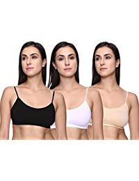 Trasa Air Bra, Sports Bra, Stretchable Thin Lace Non-Padded and Non-Wired Bra for Women and Girls, FreeSize ( Size 28 to 36) - Black, White and Beige