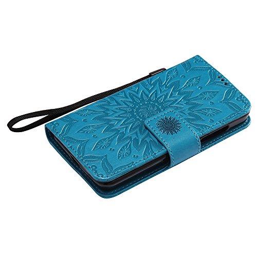 Für Microsoft Nokia Lumia N630 Fall, Prägen Sonnenblume Magnetisches Muster Premium Weiche PU Leder Brieftasche Stand Case Cover mit Lanyard & Halter & Card Slots ( Color : Green ) Blue