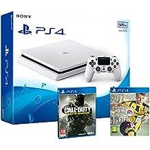 PS4 Slim 500Gb Blanca Playstation 4 Consola - Pack 2 Juegos - FIFA 17 + Call Of Duty: Infinite Warfare