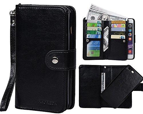 """xhorizon TM [Aktualisiert] FM8 2 in 1 führend DesignTop Notch Bifold Magnetisch Car MountPhone Halter Kompatibel Folio LederBrieftasche Hülle für iPhone 7 Plus [5.5""""] mit 9H Ausgeglichenes GlasFil Schwarz"""