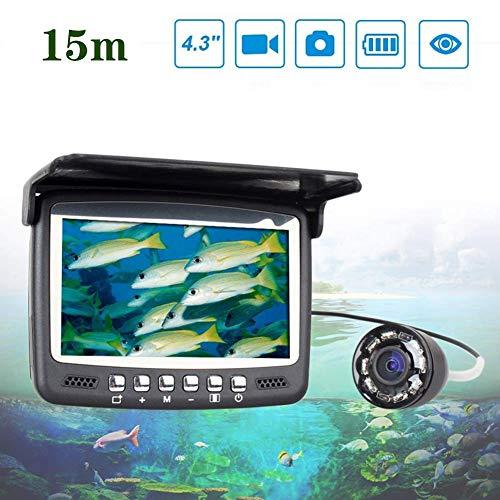 15 Meter 4,3 Zoll LCD-Monitor Unterwasserfischen Kamera Fischfinder Eisfischen und Seefischen Mit 8 weißen Lichtern Erhöhen Sie die Fangchance HD-Videoaufnahmefunktion Dc-spannung Transducer