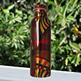 #6: JaipurCrafts Pure Copper Modern Art Printed And outside Lacquer Coated Bottle, Travelling Purpose, Yoga Ayurveda Healing, 1000 ML ( Design May Very)