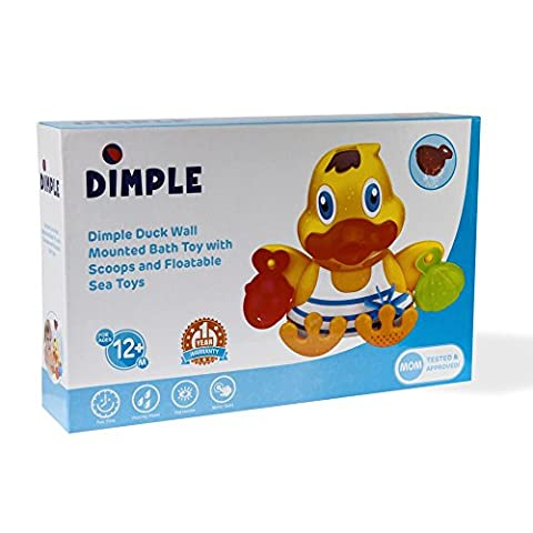 Rubber Duck Wall Mounted Bath Toy, with Floatable Sea Animal Toys, 4 Stackable Cups, 3 Friendly Fish, 2 Scoopers, Octopus & Turtle, Tons of Fun, Great for Kids and Toddlers, Educational Children's Toy, By
