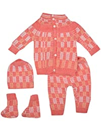 Little Bunnies Unisex Wool Clothing Set (Red, 0 - 3 Months)