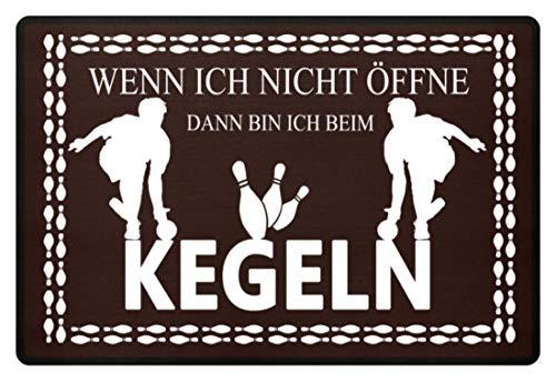 Shirtee Fussmatte Kegeln - Fußmatte -60x40cm-Braun -