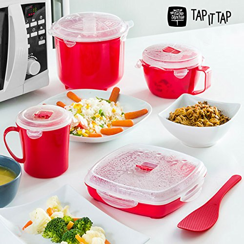 appetitissime Tap It Tap Dampfgarer-Set für Mikrowelle (11-teilig) rot