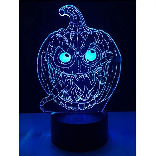 3D Illusion Lichter Halloween Süßes Oder Saures Kürbis Teufel Zunge 3D Usb Led Glühbirnen Beleuchtung 7 Farbwechsel Stimmung Nachtlichter Spielzeug Schmücken Kinder