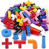 Nom du produit:72 Pièces Tube Blocs de Construction  Marque: Onshine Material: bonne Plastique qualité ABS. Taille de produit: 27.5*20*13.5CM Edad: edad 3 + Caractéristiques du produit: Exercice coordination oeil-main,recognization de couleur, dév...