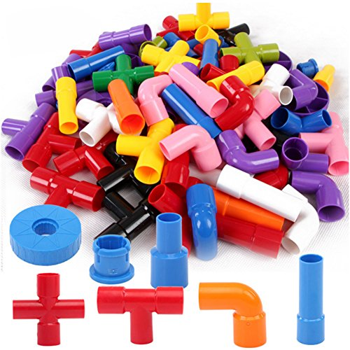 Onshine 72pcs Plastics Pipe Plug Match Building Puzzle Toys Assembling Educational Construction Toy Set for Children Boys Girls