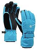 Women's Classic Zippered Pocket Touchscreen Ski Glove,Blue,S