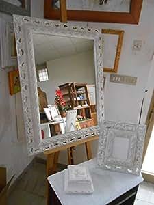 Specchio parete specchiera cornice barocca foglia argento - Specchio cornice nera barocca ...
