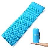 ENKEEO Isomatte Ultraleicht Camping Luftmatratze Aufblasbare Schlafmatte wasserdicht mit Kissen 190 x 58 x 6 cm aus 40D TPU Nylon für Camping