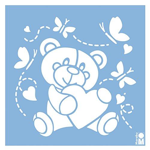 Marabu 0277000000048 - Schablone, lasergeschnittene, strapazierfähige Schablone, PVC frei, zur Anwendung auf Wänden, Möbeln und Textilien, wieder verwendbar, ca. 33 x 33 cm, Baby Bear