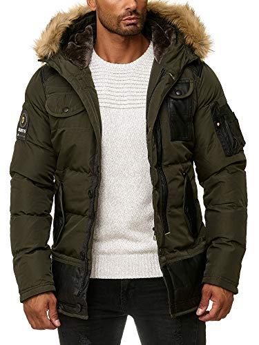 Blackrock Herren Winter-Jacke - Gefütterte warme Herrenjacke - Slim-Fit - mit Kapuze und abnehmbarem Kunstfell - Khaki - S