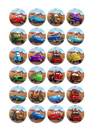 Image of 24 x Disney Pixar Cars Edible Birthday Cupcake Cake Toppers Decorations