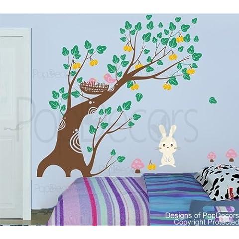 PopDecors - Bunny y frutero - 71in H - Carcasa en forma de árbol de pared para niños habitaciones chicas Murales de papel pintado de vinilo para niña para Niños pegatinas decorativas para pared con texto Decor dodoskinz diseño con texto en