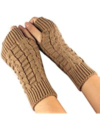 Amonfineshop(TM) Fashion Strick Arm Fingerwinterhandschuhe Unisex weiche warme Fausthandschuh (braun)