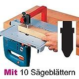 Neutechnik Präz.-Stichsägetisch für jede Stichsäge - Basisgerät + 10 extra langen Sägeblätter Typ BOSCH