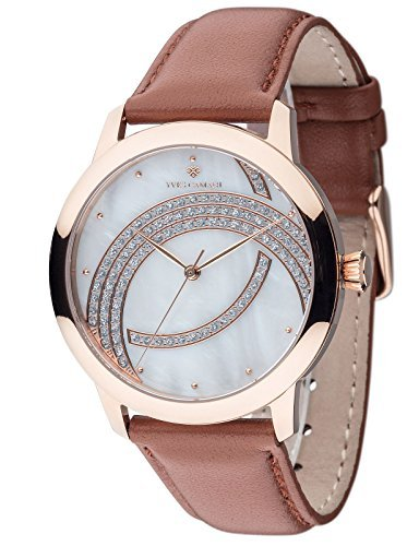 Yves Camani Arce Nciel Elegant Ladies Watch with Cubic Zirconia Stones Mother of Pearl Dial and Genuine Leather Strap Watch.