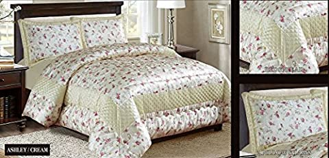 3PC Beautiful Heavy Jacquard Quilted Bedspread Comforter Set - All sizes (Super King, Ashley Cream)