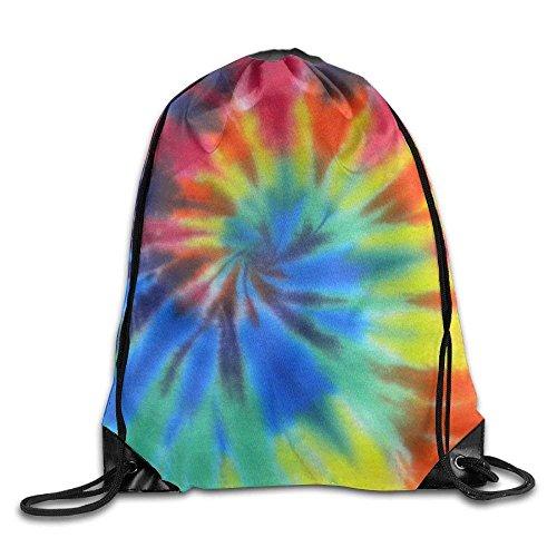 Rainbow Tie-Dye Gym Drawstring Backpack Unisex Portable Sack Bags (Tie-dye-sling)