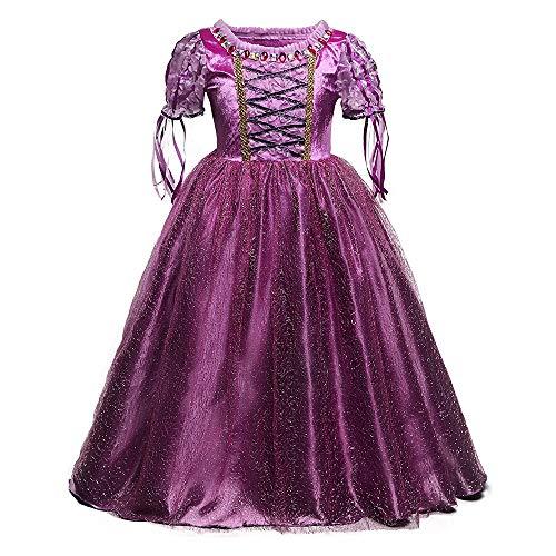 QSEFT Mädchen Cinderella Kleider Kinder Schneewittchen Prinzessin Kleider Rapunzel Aurora Party Halloween Kostüm Kinder Kleid (2-8 Jahre Alt),150