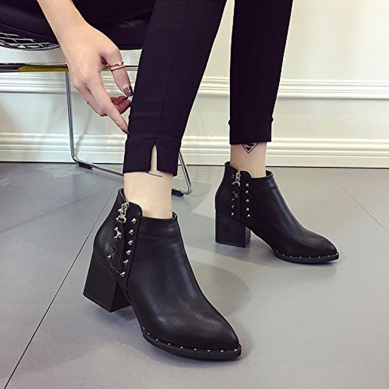 Remaches Martin _ Martin botas botas de punta negra con el lado rugoso del remache de tacón alto cilindro corto...