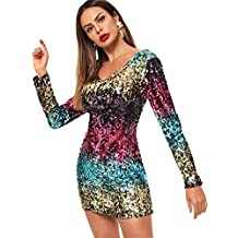 63c966086 SOLY HUX Vestidos de Fiesta para Mujer con Lentejuelas de Moda Mangas  Largas Faldas Atractivas de