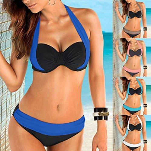 BYSTE Costumi da bagno Estate Donna Sexy Multicolore attraversare Lace-up reggiseno Bikini Thongs mutande Push-Up costume da bagno set mare costume Swimsuit Coordinati Beachwear Rosa