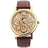 tia-ve? 2016 Neue Version Herren Skelett Zifferblatt Leder Gurt Luxus self-wind Up Mechanische automatische Steampunk Armbanduhr (braun & gold)