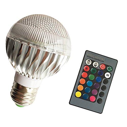 Eleidgs di metallo sferica E27 prese vite RGB standard Multi-colore chiaro LED 16 colori 24 tasti del telecomando cambiando energetico dimmerabili lampadina a risparmio lampada con illuminazione a infrarossi telecomando umore ambiente (3 Watt) (Natale)