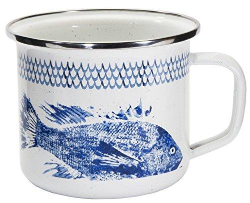 emailliert-Fisch Camp Muster-24Unze Grande Suppe Tasse
