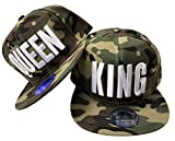 King & Queen Snapback Set USA Cap Kappe Basecap Mütze Trucker Cappy Kult (King & Queen Camou Grün Set)
