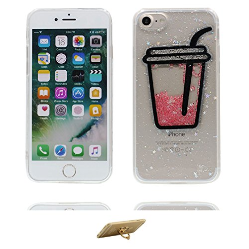 Custodia iPhone 7 Plus, Silicone trasparente Case iPhone 7 Plus copertura Cover e ring supporto Shell Graffi Resistenti - 3D coniglio Cute Color - 5