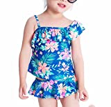 FEESHOW Mädchen Tankini Floral Gedruckt 2 tlg. Einschutlter Tops mit Bikinihose Badeanzug Swimmwear sommer Strand Blau Gr. 98-122 Blau 104 / 3-4 Jahre