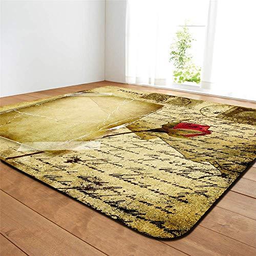 Leichte weiche Teppich-Bodenmatte aus bedruckter Polyester-Baumwolle im antiken Stil für Wohn- und Schlafzimmer (baufälliges Buch, 63 x 48 Zoll) - Antik-stil Teppich