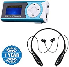 Captcha Digital Mp3 Player with LCD Display,Led Torch and TF Card Slot with Hbs 730 Wireless Bluetooth Headset