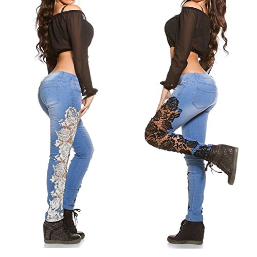 Lanmworn Frau Weiß Schwarz Spitze Zerrissene Jeans,Beunruhigt DüNn Modisch Bleistift Denim Hose Fest BeiläUfig Patchwork Blumen Gamaschen Hose Hellblau Schwarz