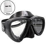 Occhiali da immersione Dee Plus Occhiali da snorkeling professionali Occhiali da sole in vetro temperato anti-nebbia per bambini, adolescenti Maschera da immersione subacquea unisex nera | Con custodia impermeabile
