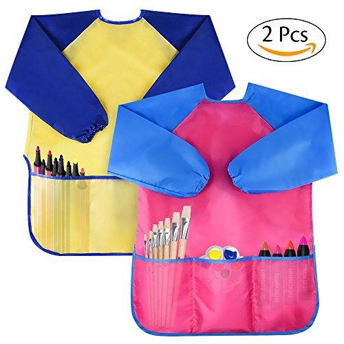 Amaza 2pcs grembiule da pittura scuola grembiulino maniche lunghe bambini 2-8 anni (giallo & rosa)