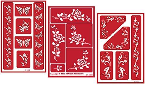 3Armour Etch über N über wiederverwendbar Glas Radierung Schablonen Set   Butterfly, Fleur de Lis, Rose Drinkware Gläser