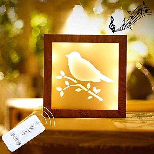 Décoration 1.5W carte d'oiseau télécommande gradation cadre photo créatif LED lumières décoratives, lumière de nuit cadeau de nouveauté, DC 5V, taille: 20 * 20 * 3.5 cm Donner en cadeau